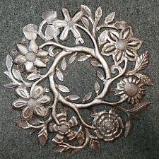 Vintage Haitian Metal Art Floral Wreath Signed Max-Eliebr