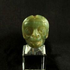 Pre-Columbian Mayan Carved Translucent Jade Bead or Pendant of Mayan Sun God