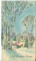VINTAGE CHRISTMAS SILVER WHITE BIRCH PINK HOUSE BLUE SKIES HORSE GREETING CARD