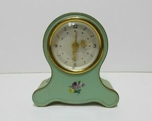 vintage painted brass Emes musical mechanical alarm clock  mantel clock