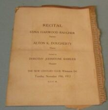 1912 Edna Harwood Baugher Soprano Singer Concert Program Wilmington Delaware