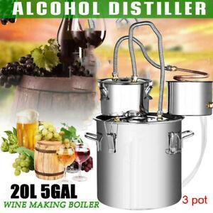 20L Moonshine Still Spirits 3Pots 5Gal Kit DIY Water Alcohol Distiller Brewing