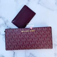 Michael Kors Jet Set Travel Large Carryall Card Case Wallet Oxblood Signature