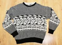 MENS VINTAGE BLACK AND WHITE COSBY XMAS JUMPER SWEATER PULLOVER