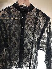 Vintage Black Lace Shirt Feminine Blouse See Through Sheer Sz 10 S