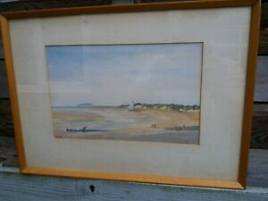 Vintage Watercolour The Beach Burnham On Sea Somerset 1979