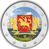 2 Euro Gedenkmünze Litauen 2020 coloriert  mit Farbe / Farbmünze Aukstaitija 1