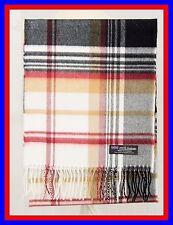 100% Cashmere Scarf Cream Camel Check Plaid Scottish Ghram Nova Wool Unisex ZJSF