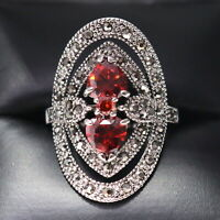 Sparkling Pear Red Ruby Ring Women Engagement Jewelry 14K White Gold Plated