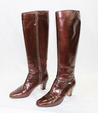 Vintage Salvatore Ferragamo Brown Leather Size 5 B - Women's Boots Knee High