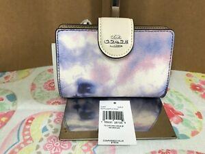 Coach Medium Corner Zip Wallet With Tie Dye Print C4531 Sv/Purple/Pink Multi