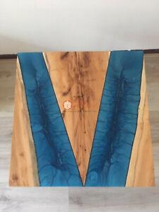 Handmade Olive Wood Dining Custom Table Top Blue Resin River Live Edge Art Decor