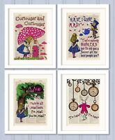 Set of 4 Alice in Wonderland Antique Book page Art Prints A4-Nursery Set 2 Pink