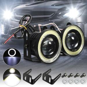 2x 2.5'' 15W Car White COB LED Projector Angel Eyes Blue Ring DRL Fog Light .f