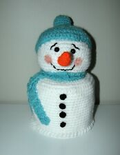 Handmade Toilet Paper Roll Cover Crochet SNOWMAN bathroom decoration white new