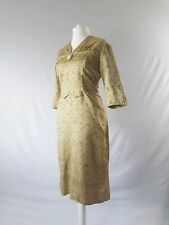 Vintage 50s Dress True Fifties Wiggle Silk Gold Chinese  Embroidered Uk 14-16