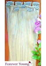 Clip en Remy 100% cabello humano Real extensiones media cabeza luz rubia 613#
