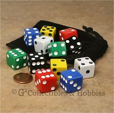 NEW 12 Multicolored Dice & Bag Set - 6 Colors RPG Bunco Game Six Sided 16mm D6