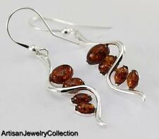 BALTIC AMBER EARRINGS 925 STERLING SILVER ARTISAN JEWELRY COLLECTION S078