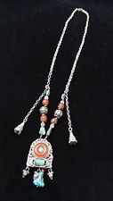 ANTIQUE 19C CHINESE SILVER ,TURQUOISE ,CARNELIAN QUARTZ, NECKLACE, PENDANT
