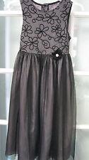 girls black gray  sheer overlay size 8 embroidered church dinner dress tulle