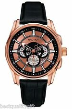 NEW NAUTICA BLACK CROC LEATHER BAND+ROSE GOLD DIAL+CHRONO+DATE WATCH-A24004A