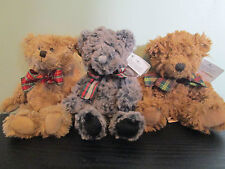 RUSS BERRIE TRADITIONAL TEDDY BEAR WITH TARTAN BOW. 'RETIRED'. BEIGE OR BROWN