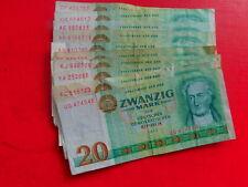 DDR Lot Geldscheine 10 x 20 Mark 1975 gebraucht 100% Original *
