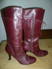 OFFICE UK7 SIZE 40 LADIES BURGUNDY LEATHER KNEE HIGH BOOTS LEATHER LINED EX CON