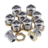 10pcs Drum Air Vent with Gaskets Bass Tom Snare Drum Parts Accessory, Chrome