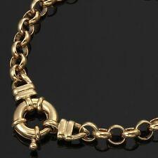 18K Yellow Gold GL Womens Solid Med Belcher Bracelet & Life Buoy Bolt Ring 18cm