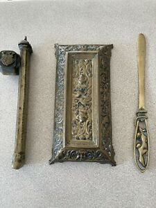 Antique Brass Art Nouveau Ink Pen Rest, Letter Opener and Portable Quill and Ink
