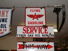 Old antique style Flying A dealer service garage gas pump 2 piece sign set