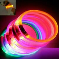 LED Pet Collar Pets Dog Walk Safety Flashing Light Leash Glow In The Dark-Party