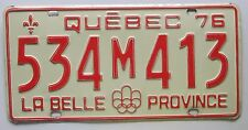 Quebec 1976 License Plate NICE QUALITY # 534M413
