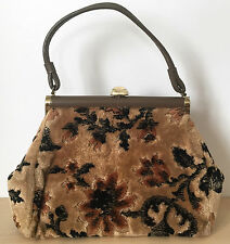 Vintage Brown Beige Floral Carpet Purse Bag Handbag Leather Handle EUC