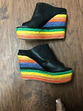 NYLA Black Sandals w/ Rainbow Wedge 7.5