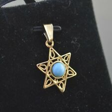 CW20-14K YELLOW GOLD STAR OF DAVID WITH A TURQUOISE IN THE CENTER CHARM PENDANT