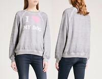 NWT Wildfox Couture Brand I Love My Dog Pullover Sweater Top Sweatshirt