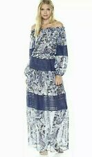 NWT BCBG Maxazria Ellie Maxi Dress Blue Paisley Floral Off Shoulder Boho Size S