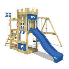 WICKEY Spielturm Ritterburg RoyalFlyer Kletterturm Doppelschaukel Rutsche Holz