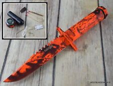 8.5 INCH OVERALL SURVIVOR FIXED BLADE KNIFE W/ SURVIVAL KIT COMPASS SAW ON BLADE
