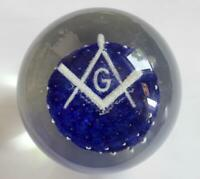 Vintage Masonic Freemason Glass Paperweight