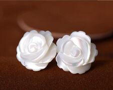 Ohrstecker Ohrring Rose Blume aus Perlmutt 925 Sterling Silber