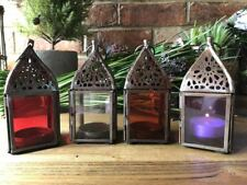 S/4 Vintage Antique Indian Moroccan Home Garden Hanging Candle Lanterns Holders