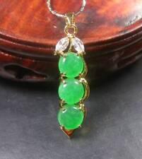 Gold Plate Green JADE Pendant Pea Bead Bean Diamond Imitation Necklace 268301