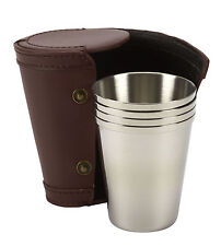 4 4oz stainless steel large tot tumblers in leather pouch, shooting golf riding