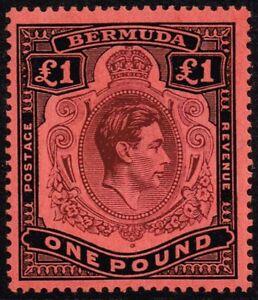 Bermuda 1938-53 £1 purple & black / red, MH (SG121)