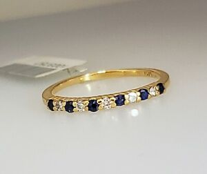 Diamond & Blue Sapphire Stack Anniversary Wedding Ring Band 10k Y Gold Size 7.5