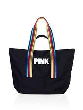 Victoria's Secret Pink BLACK RETRO Zip-Top Tote Bag School Bookbag Beach Shop